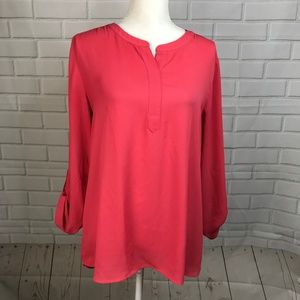 Van Heusen Blouse Pink Roll Tab 3/4 Sleeves Top